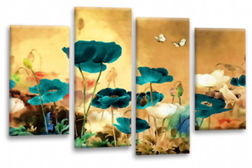 CHINESE FLORAL FLOWER SPLIT MULTI 4 PANEL BEIGE TEAL WHITE  PICTURE